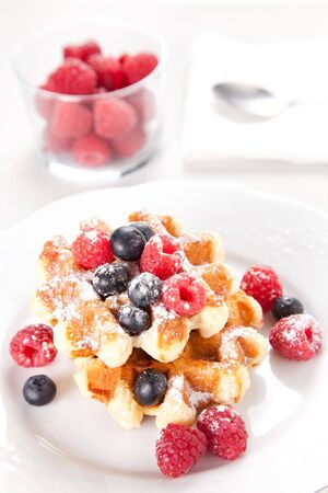 breakfast of tasty Waffles isolated over white Stock Photo