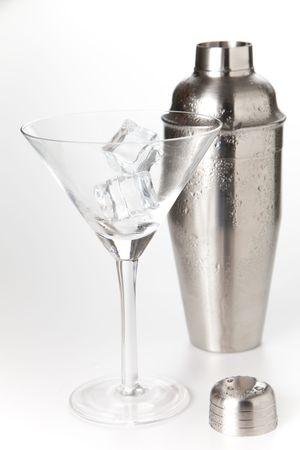 stainless azero shaker isolated over white background photo