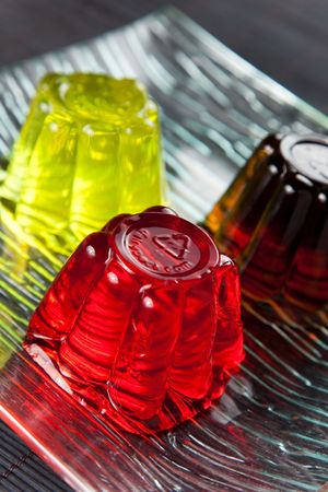 gelatin: sweet and healthy friuit gelatin isolated over white