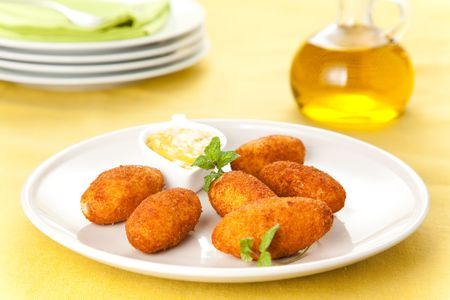 ham and cheese croquettes typical Spanish cuisine photo