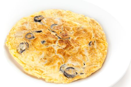 mushrooms olives and potatoes omelette typical Spanish cuisine photo