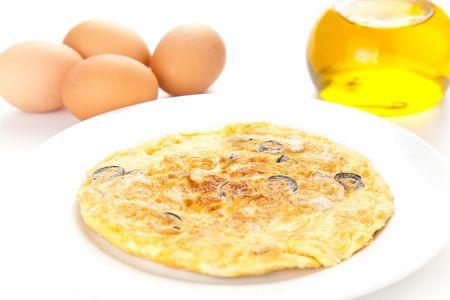 omelette: mushrooms olives and potatoes omelette typical Spanish cuisine