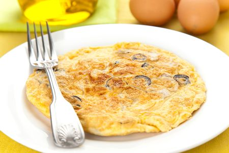 mushrooms olives and potatoes omelette typical Spanish cuisine
