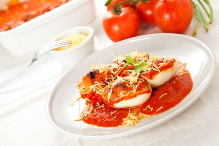 stuffed eggs with tomato and shredded cheese Stock Photo - 6396933