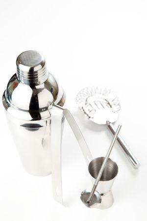 set of shiny aluminum shaker isolated on white photo
