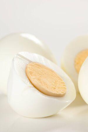 hard boiled egg isolated on white background photo