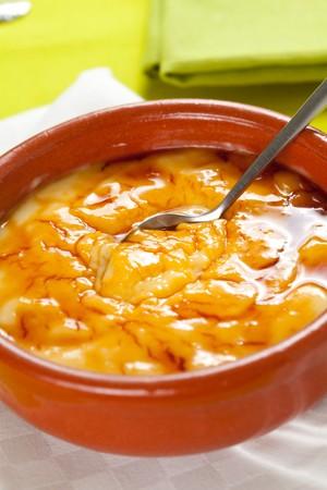 crema: bowl of crema catalana delicious typical Spanish dessert