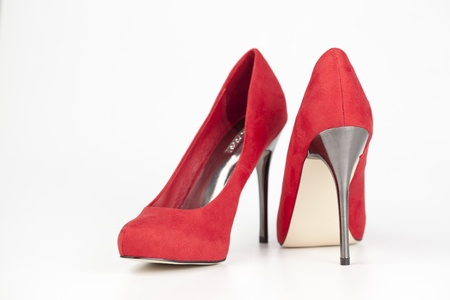 heels shoes: Red high heels isolated over white Stock Photo