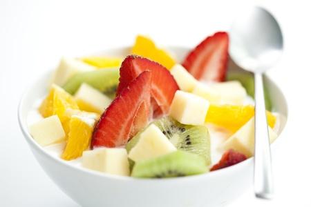 fruit salad: delicious fruit salad with chunks of fruit and yogurt