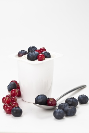 plastic made: yogurt in plastic box container isolated over white background