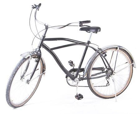 bicicleta retro: Una bicicleta de playa negro aislado sobre fondo blanco Foto de archivo