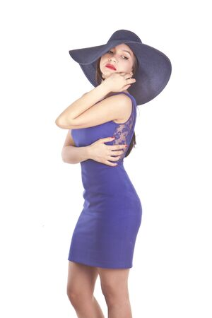 sexy latina model in a blue dress isolated on white background Stock Photo - 13770426