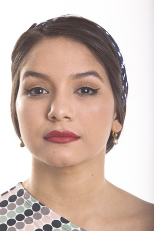 latin american ethnicity: Georgeus Latina Young Woman in dress moles and diadem Stock Photo