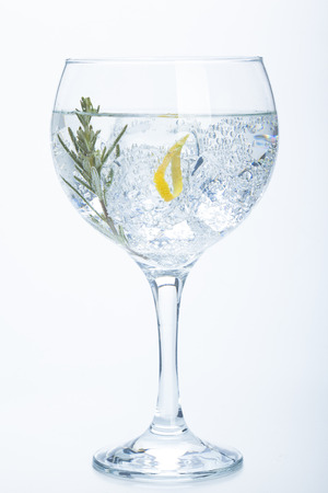 rosemary and lemon gin tonic isolated over white