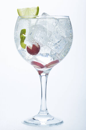 grape and lime gin tonic isolated over white  photo
