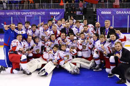 champion spain: Granada, Spain February 14, 2015: Russia hockey champion Granada Winter Universiade 2015