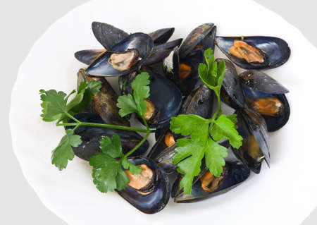 boiled mussels with parsley, oil, lemon and garlic