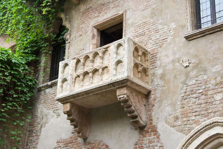 romeo: The famous balcony of Juliet Capuletis home in Verona Stock Photo