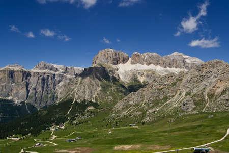 Summer view of Sella montain in italian dolomiti from passo Pordoi photo