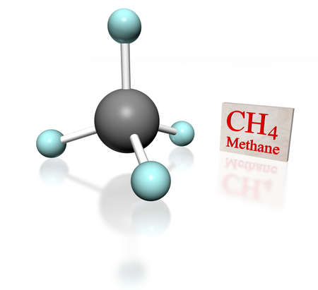 modelling: molecular model of methane with label on white background Stock Photo