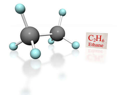 hydrocarbon: 3d molecular model of ethane with label on white background