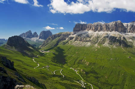 sudtirol: summer view of Pordoi pass and Sella mount in italian dolomites