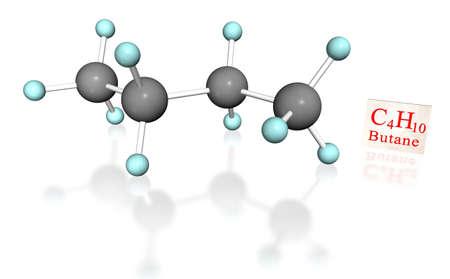 butane: 3D molecular model of butane with label on white background