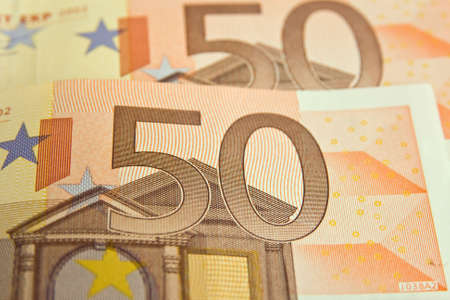 fifty euro banknote: close up of  fifty euro Banknote