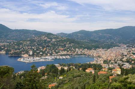 panorama of Rapallo and the Tigullio gulf in Liguria, mediterranean sea. Photo taken with polarizer filter
