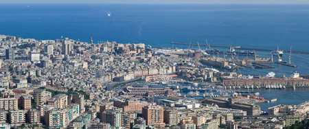 Aerial view of Genova with the old town and port Stock Photo