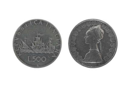caravelle: Columbus caravelle: old italian 500 pi�ces d'argent isol� sur fond blanc Banque d'images