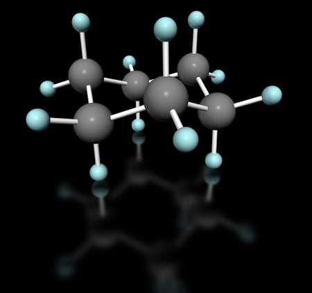 conformation: 3D modelo molecular de ciclohexano en conformaci�n silla con etiqueta de fondo blanco