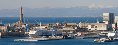 Panorama of port of Genoa with the lanterna, the lighthouse that is  the symbol of the town Stock Photo