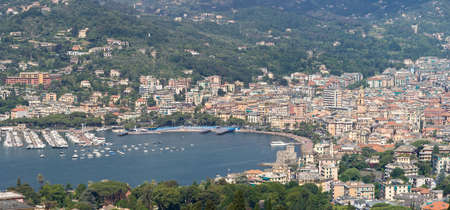 Aerial view of Rapallo with the characteristic castle and promenade. Rapallo is a small town in Liguria near Genova, Italy