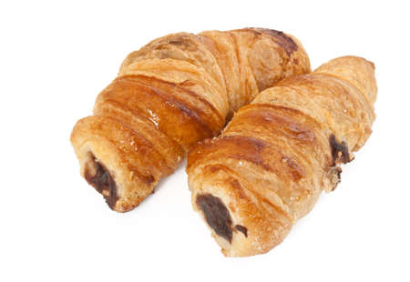 cannoli pastry: pastry roll with chocolate called cannoli isolated on white background