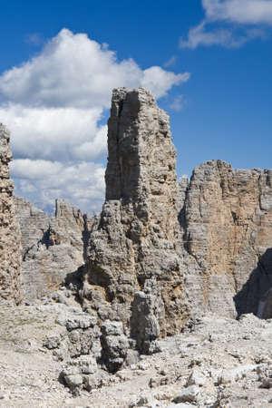 rock spike in Sella mountain, italian dolomites. Photo taken with polarizer filter Stock Photo - 5301329