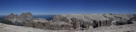 sella: panoramic view of italian dolomites with Sassolungo and Sella group from Saas pordoi