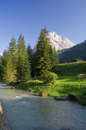 summer view of Avisio river near Canazei in Val di Fassa, italian dolomites Stock Photo - 5345921