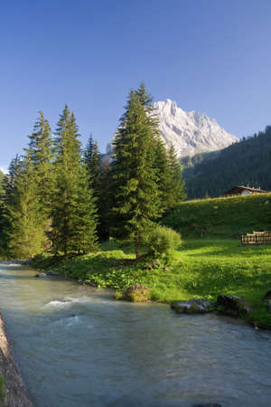 summer view of Avisio river near Canazei in Val di Fassa, italian dolomites Stock Photo - 5345921