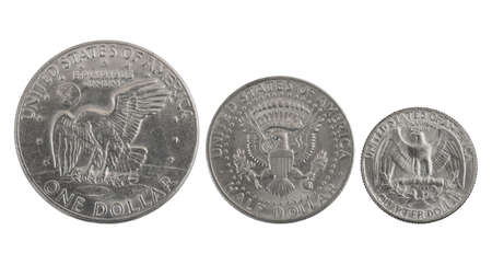 american silver eagle: old USA silver coins with eagles: one, half and a quarter of dollar