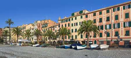 promenade of Santa Margherita ligura, famous small town in liguria, Italy, with the characteristic painted houses Stock Photo