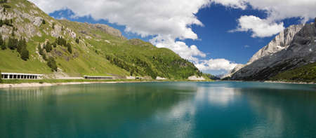 trentino: The artificial lake and pass of Fedaia (Dolomites, Trentino, Italy), at summer