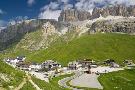summer view of Pordoi pass dominated by Sella mount, Trentino, Italy photo