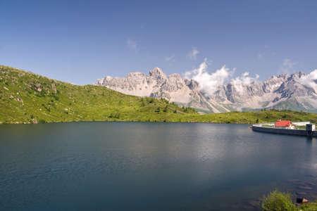 summer view of lake Cavia near San Pellegrino pass, Trentino, Italy  photo