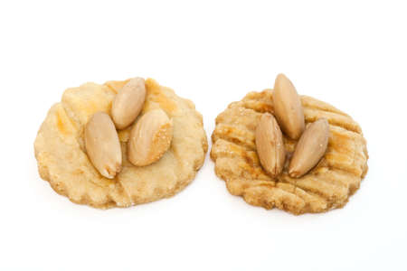 two homemade almond pastries isolated on white background photo