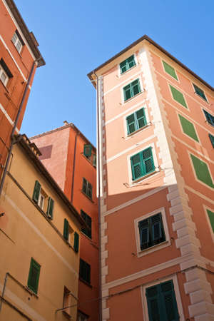 frescoed: characteristic frescoed homes in Camogli, famous small town in Liguria, Italy Stock Photo