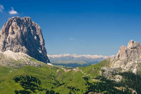 sud tirol: Summer view of Sella pass with Sassolungo mountain, Italy Stock Photo