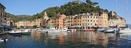 liguria: Panorama of Portofino, famous small town in Liguria, Italy Stock Photo