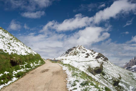 path that connects Pordoi pass to Fedaia pass, trentino, Italy.  photo