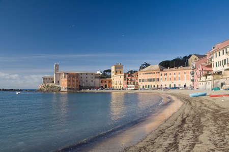 panoramic view of Silence bay in Sestri Levante, famous small town in Liguria, Italy